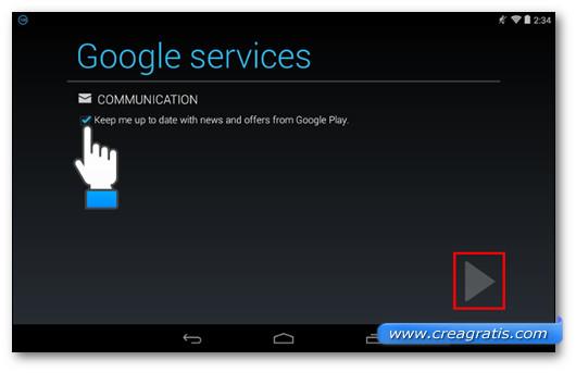 Scegliere se desideriamo ricevere email pubblicitarie da Google