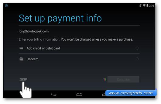 Schermata per scegliere il metodo di pagamento di app e altro su Google