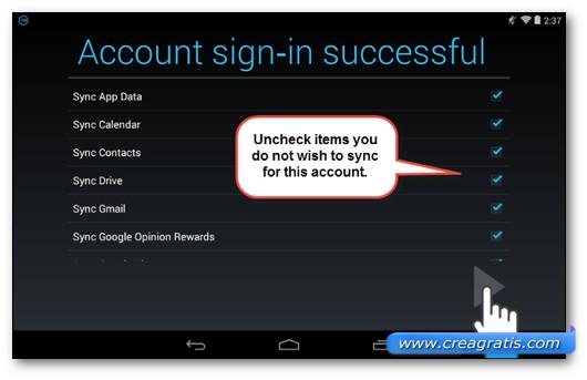 Schermata dell'accesso al nuovo account Google