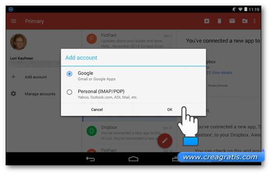 Scelta Account Google tramite l'app Gmail