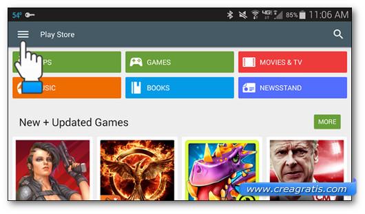 Pulsante di Google Play Store per accedere alle impostazioni