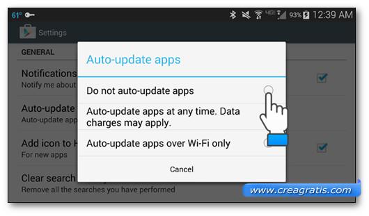 Opzioni per gestire gli aggiornamenti automatici delle app Android