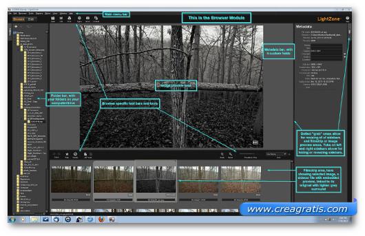 Interfaccia grafica del programma LightZone