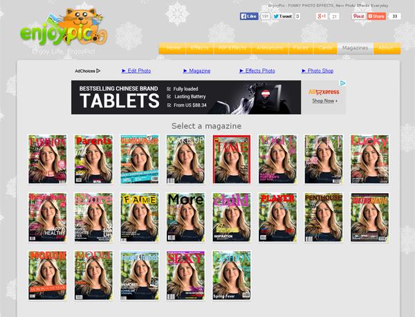 Immagine del sito EnjoyPic per creare fotomontaggi
