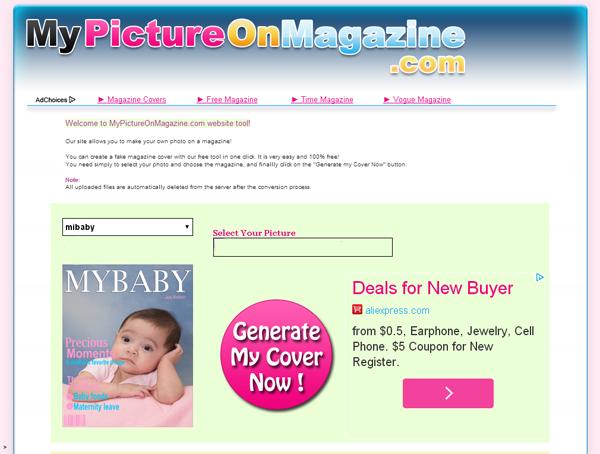 Immagine del sito MyPictureOnMagazine per creare fotomontaggi