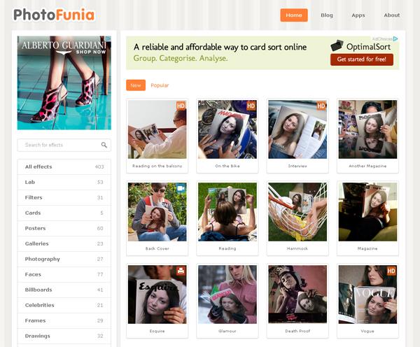 Immagine del sito PhotoFunia per creare fotomontaggi
