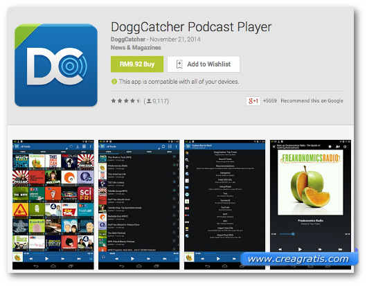 Schermate dell'app DoggCatcher Podcast per Android