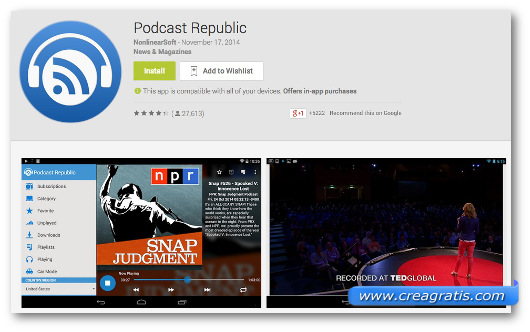 Schermate dell'app PodCast Republic per Android