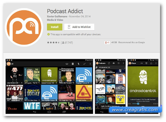 Schermate dell'app Podcast Addict per Android