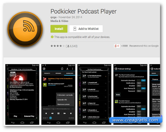 Schermate dell'app PodKicker Podcast Player per Android