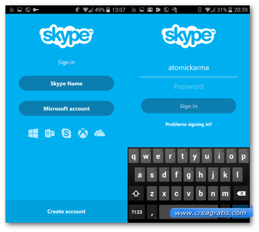 Schermate di accesso all'app Skype per Android