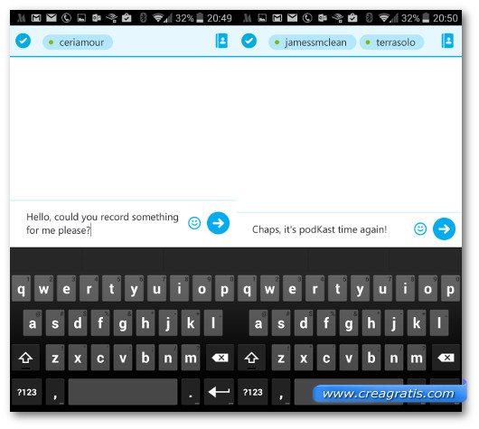 Schermate di chat con tastiera di Skype su Android