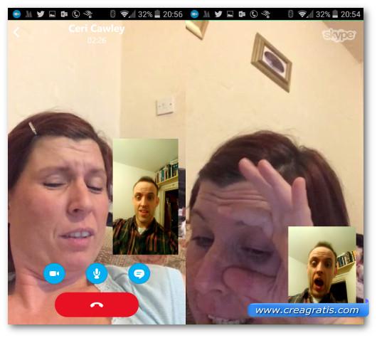 Schermate durante una videochiamata di Skype per Android