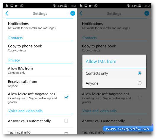 Schermata con le opzioni di privacy di Skype per Android