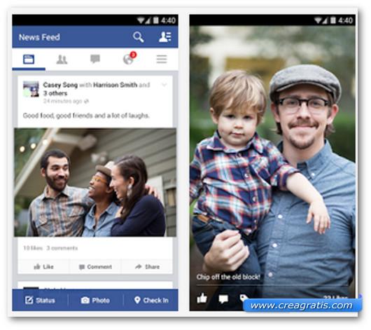 Schermate dell'app Facebook per Android