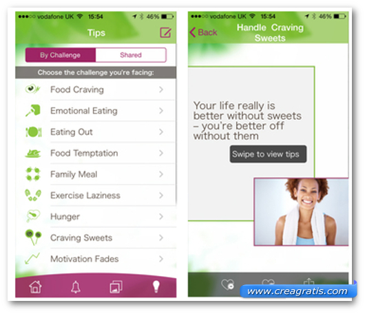Schermate dell'app My Diet Coach