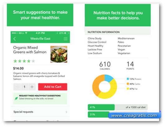 Schermate dell'app HealthyOut