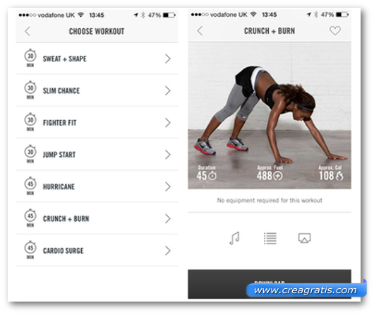 Schermate dell'app Nike+ Training Club