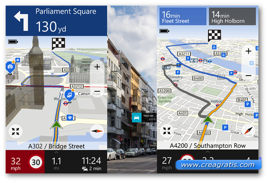 Schermate dell'app HERE Drive+ per Windows Phone