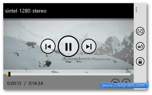Schermata dell'app MX Player per Windows Phone