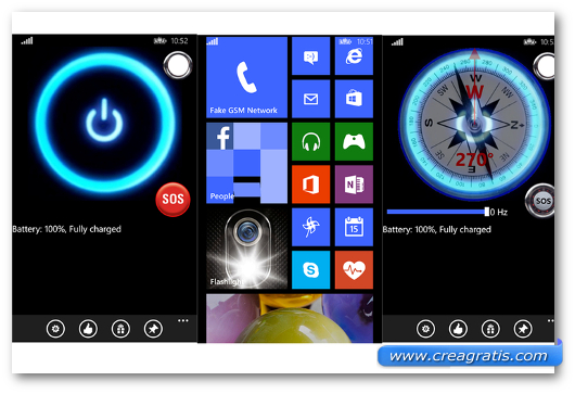 Schermate dell'app Flashlight per Windows Phone