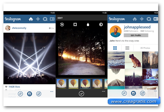 Schermate dell'app Instagram Beta per Windows Phone