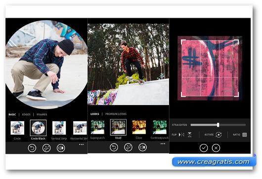 Schermata dell'app Adobe Photoshop per Windows Phone