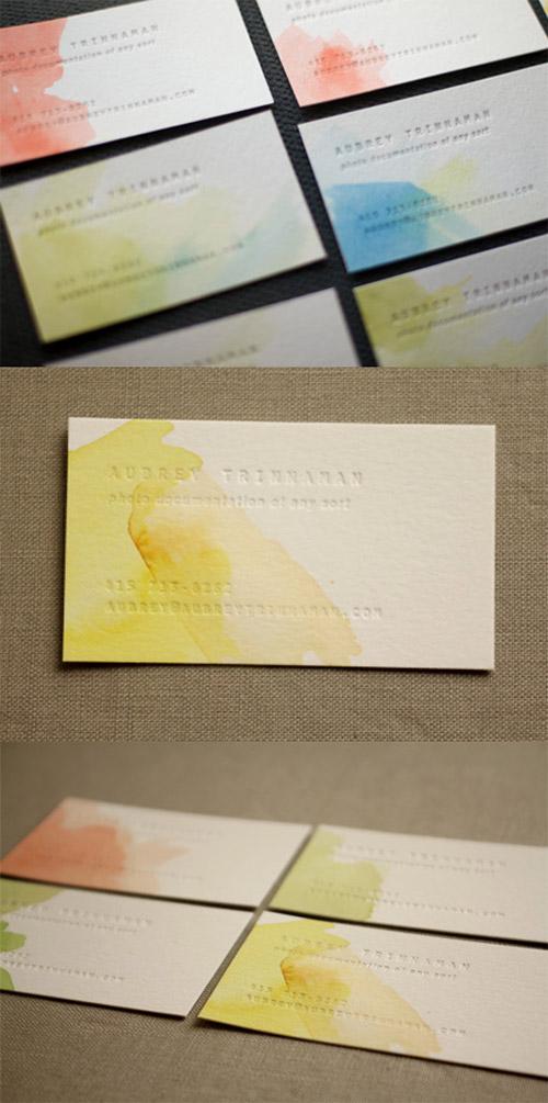 Immagine del biglietto da visita con colori ad acquerello n.1
