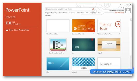 Schermata di PowerPoint per la ricerca di template