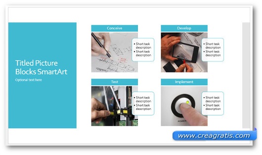 Template Process Diagram with Photo Blocks per PowerPoint