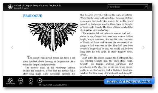 Schermata del programma Kindle per Windows