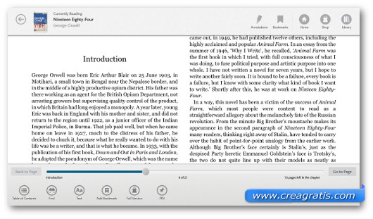Schermata del programma Nook per Windows