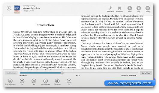Schermata del programma Nook per Windows