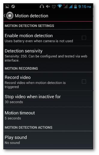 Schermata delle opzioni dell'app IP Webcam