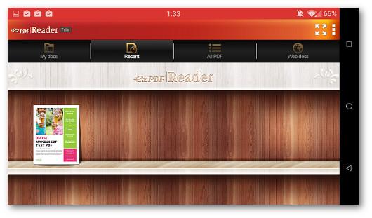 Schermata dell'app ezPDF Reader per Android