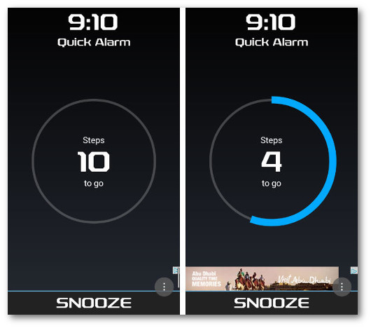 Schermate dell'app Walk Me Up! Alarm Clock per Android