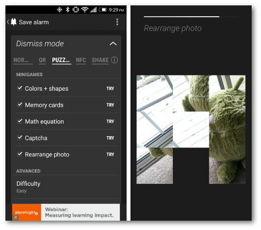 Schermate dell'app Puzzle Alarm Clock per Android