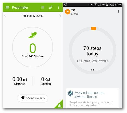 Schermate delle app S Health e Google Fit per Android