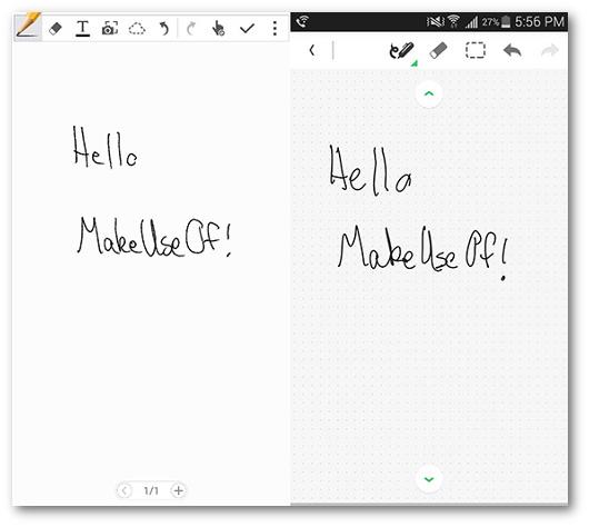 Schermate delle app S Note e Evernote per Android