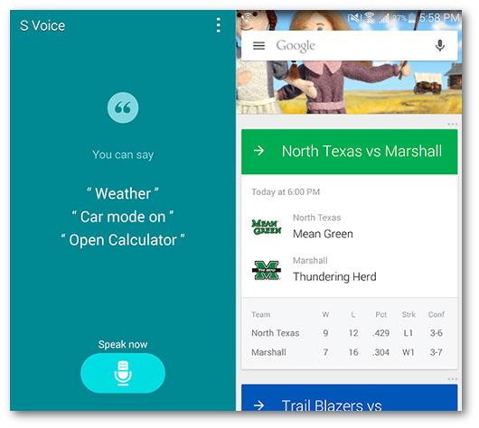 Schermate dell'app S Voice della Samsung