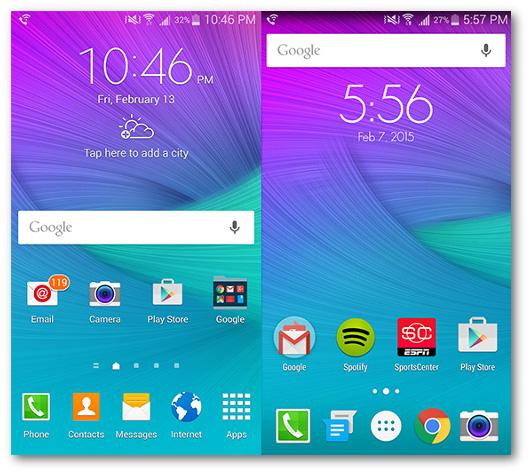 Schermate delle app Touchwiz e Google Now Luncher