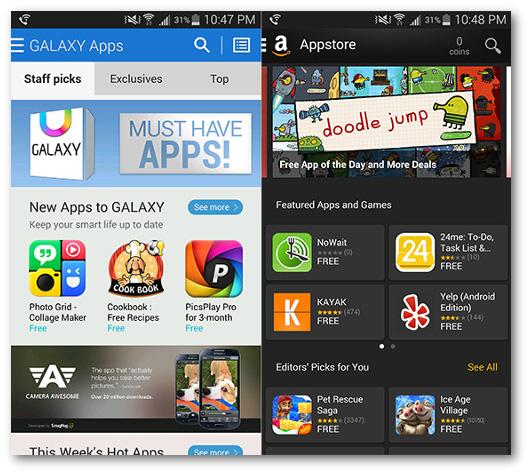 Schermate delle app GALAXY App Store e Amazon Appstore