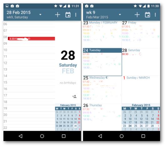 Schermate dell'app aCalendar per Android