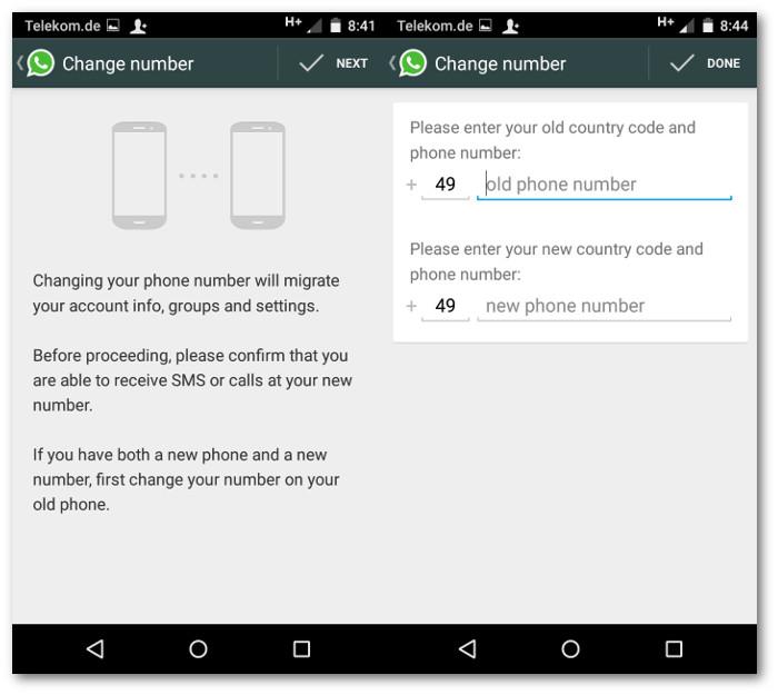 Schermate di Whatsapp per cambiare numero di telefono