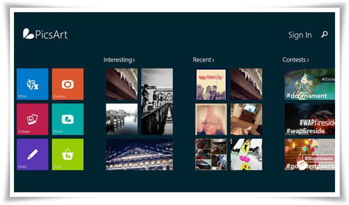 Schermata dell'app PicsArt per Windows