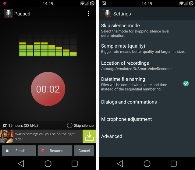 Schermate dell'app Smart Voice Recorder per Android