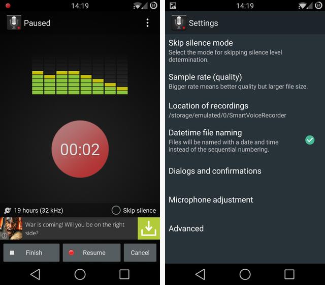 Schermate dell'app Smart Voice Recorder per Android