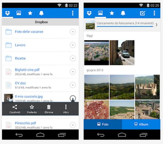 Schermate dell'app Dropbox per Android
