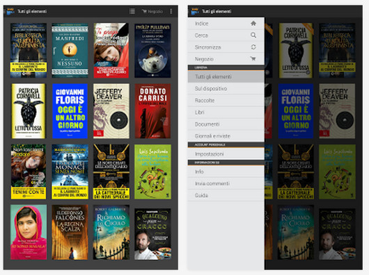Schermate dell'app Kindle for Android