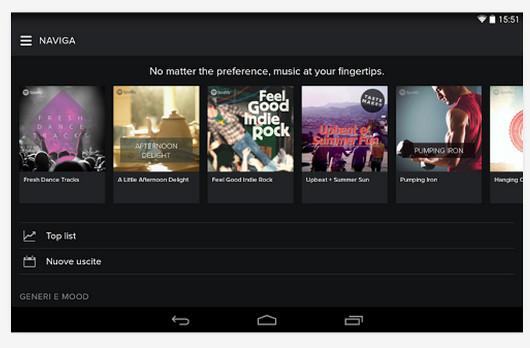 Schermate dell'app Spotify per Android